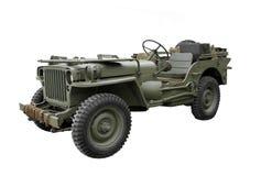 Jeep militare dell'annata isolata. Fotografia Stock