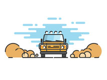 Jeep in motion on a safari trip. Thin line flat design of car. Jeep in motion on a safari trip. Modern flat design thin line banner. Vector EPS 10 Stock Photos