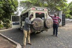 Jeep next the Cemetery in Tanzania. Polish Cursed soldiers cemetery in Tanzania, Africa Royalty Free Stock Photos