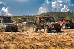 Jeep off-road racing. Race on specially prepared jeeps cross country. Off-road competitions Royalty Free Stock Photography