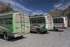 Jeep is the primary means of transport in the village of Jomsom Stock Images