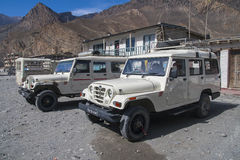 Jeep is the primary means of transport in the village of Jomsom Royalty Free Stock Photos