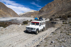 Jeep is the primary means of transport in the village of Jomsom Royalty Free Stock Image
