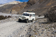 Jeep is the primary means of transport in the village of Jomsom Stock Photos