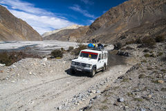 Jeep is the primary means of transport in the village of Jomsom Stock Photography
