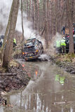 Jeep pulls the car out of the mud Royalty Free Stock Image