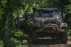 Jeep-RAM-Team Wrangler-Rennschlamm Stockbild