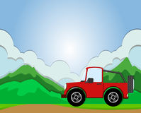 Jeep riding on the road stock illustration