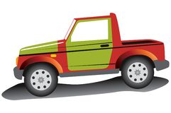 Jeep rouge. Illustration de Vecteur