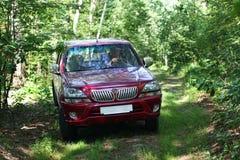 Jeep rouge de voiture dans la forêt images libres de droits