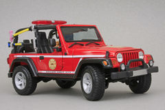 Jeep Rubicon Brush Fire Unit. Jeep Rubicon, Maisto Premiere Edition 1:18 scale diecast, right front view Stock Photos