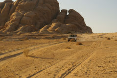 Jeep safari in desert. (Wadi rum, Jordan stock photos