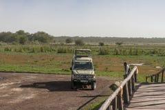Jeep on Safari. Empty Jeep on Safari in National Park Lake Manyara Conservation Area in Tanzania . Africa Stock Photography