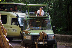 Jeep safari in Manyara Lake 2. The monkeys climb on a jeep in which tourists are. Humans and monkeys watch each other Stock Photo
