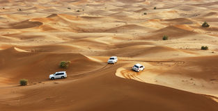 Jeep safari in the sand dunes royalty free stock images