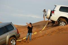 Jeep safari in the sand dunes  in Dubai Royalty Free Stock Image