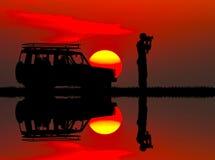 Jeep safari at sunset. Illustration of jeep safari at sunset Stock Photos
