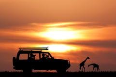 Jeep safari at sunset. Illustration of jeep safari at sunset Stock Photo