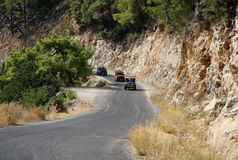 Jeep Safary for tourists on mountain roads in Turkey Stock Photos