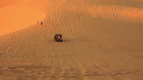 Jeep Sand Drag Racing in Boundless White Sand Dunes stock footage