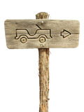 Jeep Sign. Fun little directional sign on a white background - super easy to cutout with the magic wand stock image