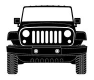 Jeep silhouette in front. Eps 10 Stock Image