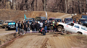 Jeep-sprint. 20-21 April 2013 ,city of Magnitogorsk,Russia, On a specially prepared track competitions on off-road-sprint First dirt 2013 stock image
