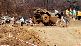 Jeep-sprint. 20-21 April 2013 ,city of Magnitogorsk,Russia, On a specially prepared track competitions on off-road-sprint First dirt 2013 stock photo