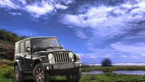 JEEP. On te offroad tarrain royalty free stock image