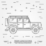 Jeep thin line.  Jeep travel grey and white vector pictogram isolated on white. Summer family travel concept. Vector. Stock Photography
