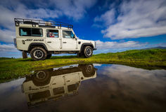 Jeep tour in the Azores. Jeep with tourists parked on the roadside in the beautiful countryside of Sao Miguel island, Azores, Portugal stock images