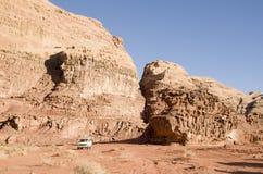 Jeep tour in Wadi Rum desert , Jordan stock photo