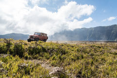 Jeep for tourist rent at Mount Bromo. Java,Indonesia-June 26 2015 : Tourists 4x4 Jeep for tourist rent at Mount Bromo,The active Mount Bromo is one of the most royalty free stock image