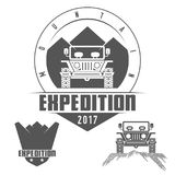 Jeep Tours Safari Expedition Vector Icon Set. Jeep Tours Safari Expedition Vector Emblem - Icon - Print - Badge Set in Vintage Black and White Style. Concept for Stock Image