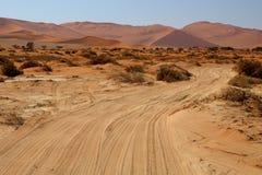 Jeep tracks in the desert of Sossusvlei Area Stock Photo