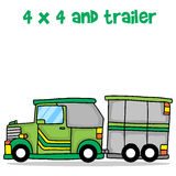 Jeep and trailer cartoon design vector Stock Image
