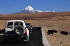 Jeep traveling in Tibet stock photo