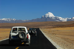 Jeep traveling in Tibet royalty free stock image