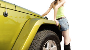Jeep und Mädchen lizenzfreie stockfotos