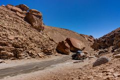 Jeep in Valles of Stones Altiplano Bolivia. Photo taken in August 2017 in Altiplano Bolivia, South America: Jeep in Valles of Stones Altiplano Bolivia royalty free stock photo