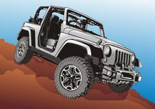 Jeep Vector Illustration. Vector Illustration of Jeep on the Dessert Royalty Free Stock Photo