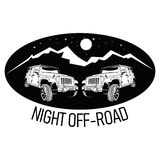 Night off road logo. 2 jeep vector for night off road. 4x4 car with mountain, star, and moon stock illustration