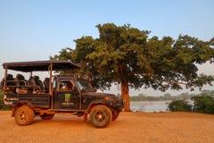 Jeep vor einem großen Baum Nationalpark Udawalawe, Sri Lanka lizenzfreie stockfotografie
