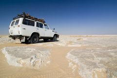 Jeep in the white desert Stock Photography