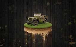 Jeep Willys front wood background. Jeep Willys front on a piece of land wood background Royalty Free Stock Images