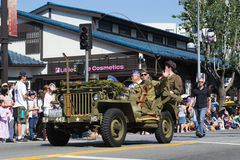 Jeep with World War II veterans in the 73th Annual Nisei Week Gr Royalty Free Stock Photography