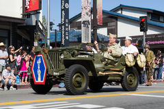 Jeep with World War II veterans in the 73th Annual Nisei Week Gr Royalty Free Stock Photos