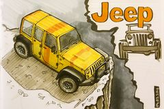 Jeep Wrangler drawing Royalty Free Stock Photography