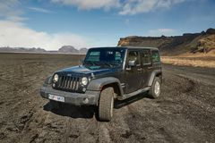 Jeep Wrangler On Icelandic Terrain Royalty Free Stock Photography