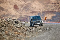 Jeep Wrangler On Icelandic Terrain Stock Images